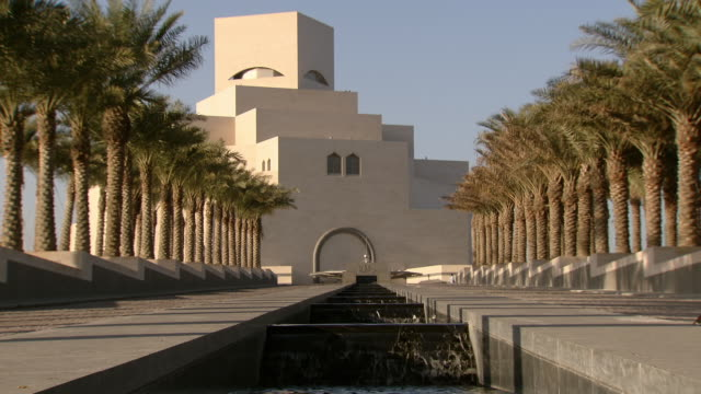 ms shot of museum of islamic art / doha, qatar  - doha stock videos & royalty-free footage