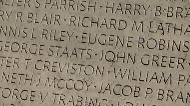 ECU TD Shot of names carve in stone at National Law Enforcement Officers Memorial / Washington, District of Columbia, United States