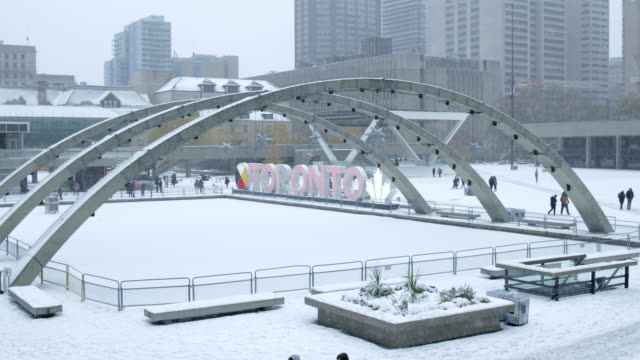 shot of nathan philip square covered in snow - snowing stock videos & royalty-free footage