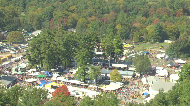 ms aerial shot of national apple harvest festival outside in adams county / pennsylvania, united states - agricultural fair stock videos & royalty-free footage