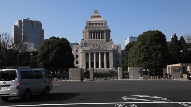 stockvideo's en b-roll-footage met ms pov shot of national diet building of japan / chiyoda-ku,  tokyo, japan - parliament building