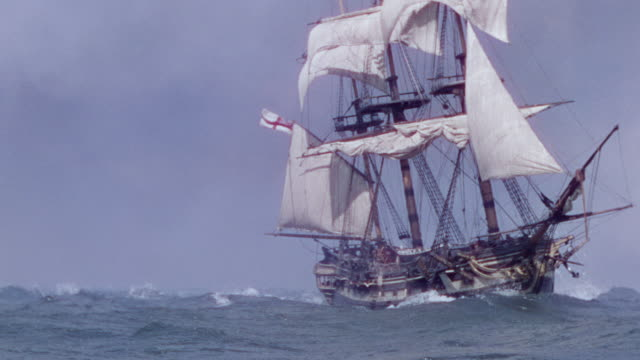 MS Shot of Natividad clipper ship sailing across ocean in fog