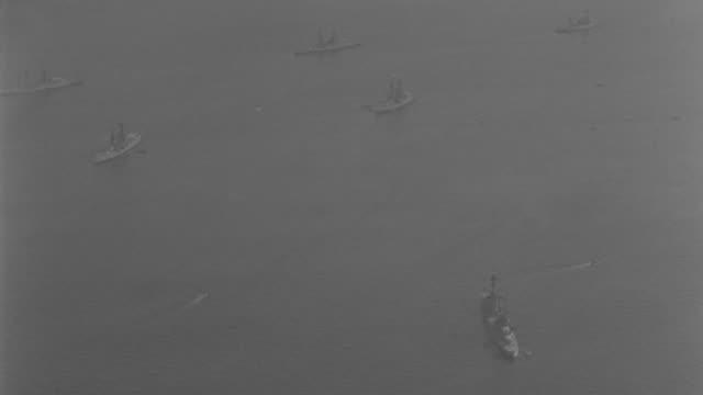 ws aerial shot of  navel fleet at sea  - navel stock videos & royalty-free footage