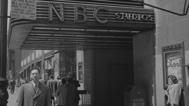 MS Shot of NBC building in New York with people walking