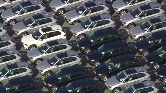 CU AERIAL Shot of new cars parked at BMW Assembly Plant near Greenville / South Carolina, United States