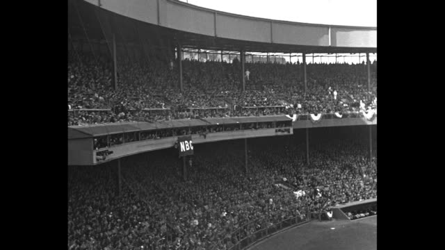 shot of new york yankees team in dugout during world series game in new york city / group of photographers and cameramen stand on field in front of... - lou gehrig stock videos & royalty-free footage