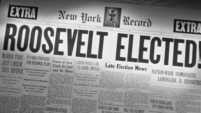 "vídeos y material grabado en eventos de stock de cu shot of newspaper headline ""roosevelt elected"" - franklin roosevelt"