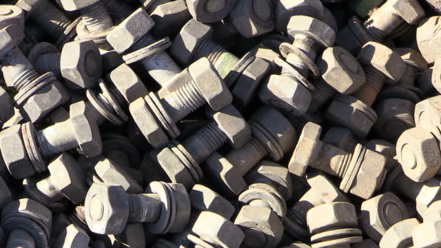 cu shot of nut bolts at construction of temporary bridge over river saar / wiltingen, rhineland-palatinate, germany - bolt stock videos & royalty-free footage