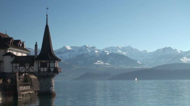 ms shot of oberhofen castle lake thun  / oberhofen, bernese oberland, switzerlan  - lake thun stock videos and b-roll footage