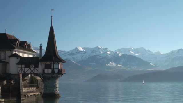 ws shot of oberhofen castle lake thun  / oberhofen, bernese oberland, switzerlan  - lake thun stock videos and b-roll footage