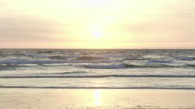 WS R/F Shot of ocean at sunset / Cap de l'Homy, Aquitaine, France