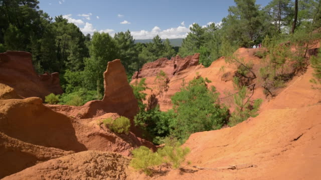 td shot of ocre canyon of roussillon - luberon video stock e b–roll