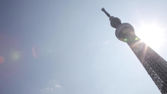 ms pan shot of of tokyo sky tree / tokyo, japan  - パン効果点の映像素材/bロール
