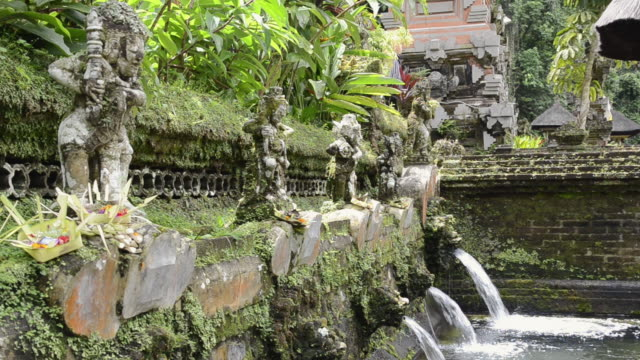 ms shot of offering at small lake in holy spring of pura / gunung kawi, bali, indonesia, asia - acqua santa video stock e b–roll