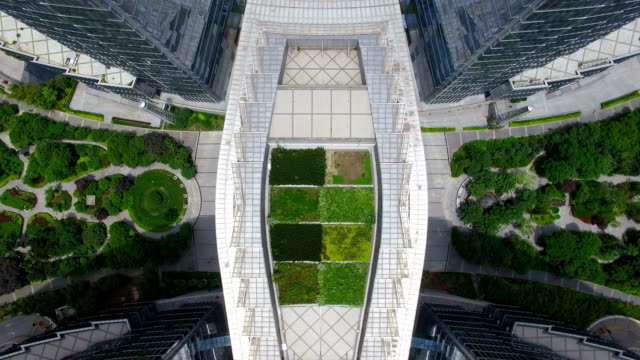 stockvideo's en b-roll-footage met aerial shot of office building/xi'an,china - formal garden