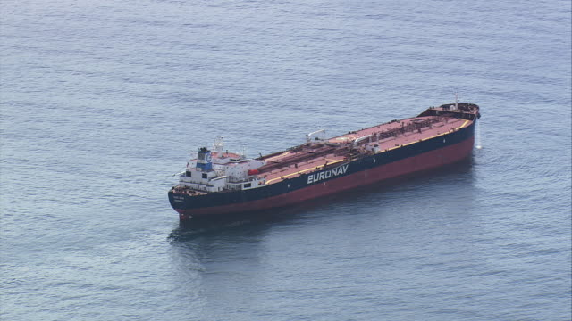 ms aerial ts shot of oil ship tanker / rio de janeiro, brazil - oil tanker stock videos and b-roll footage