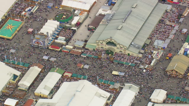 MS AERIAL Shot Of Oktoberfest And City Munich With Crowded People Germany