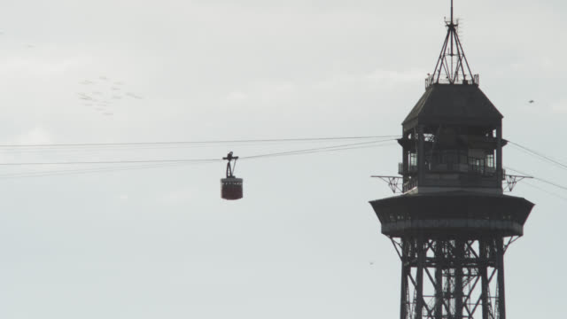 WS Shot of Old cable car moving from building / Barcelona, Catalunya, Spain