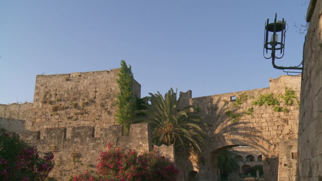 ms shot of old city and fortification / rhodes, dodecanese islands, greece - rhodes dodecanese islands stock videos & royalty-free footage