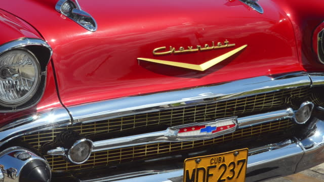 cu zo shot of old classic american car 1957 chevy in revolution square / havana, cuba - bumper stock videos & royalty-free footage