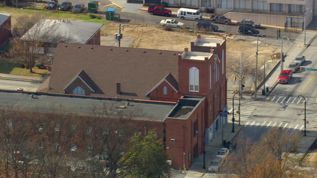 ms aerial shot of old ebeneezer baptist church / georgia, united states - southern usa stock videos & royalty-free footage