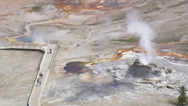 ms aerial shot of old faithful cone geyser / wyoming, united states - old faithful stock videos & royalty-free footage