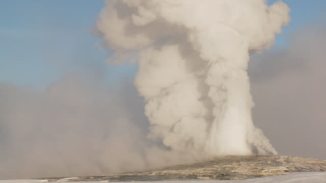 ms shot of old faithfull geyser erupting / yellowstone national park, wyoming, united  - old faithful stock videos & royalty-free footage