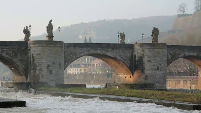 ms shot of old main bridge / wurzburg, bavaria, germany - wurzburg stock videos and b-roll footage