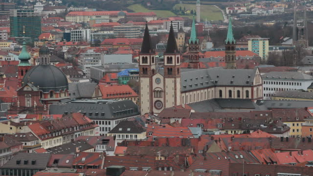 ws shot of old town and cathedral / wurzburg, bavaria, germany - wurzburg stock videos and b-roll footage