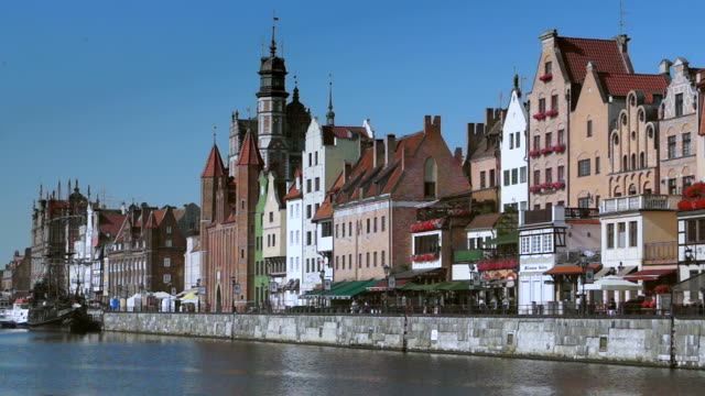 LS ZI Shot of Old town Long Bank (polish: Dlugie Pobrzeze) and Motlawa river One of Gdansks most popular places for tourists / Gdansk, Gdansk County, Poland