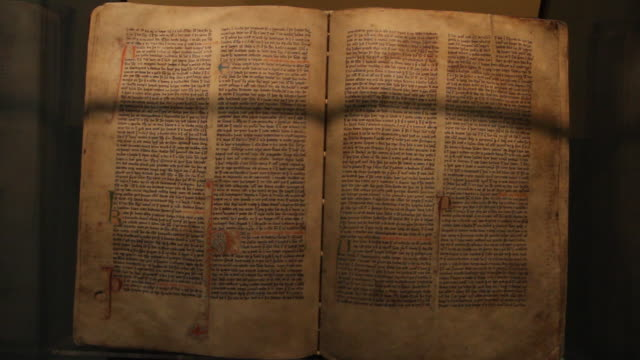 cu shot of old viking manuscript / hverageroi, sudhurland, iceland - manuscript stock videos and b-roll footage