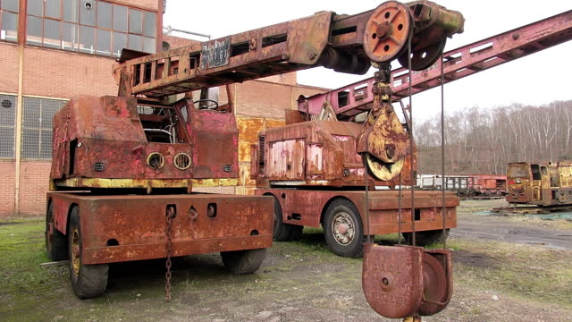 ms shot of oldest truck and cranes at musee les mineurs wendel / petite rosselle, lorraine, france - lorraine stock videos & royalty-free footage