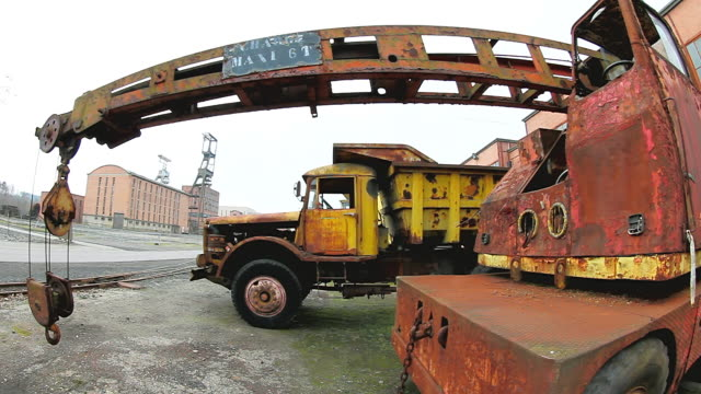 CU Shot of Oldest truck and cranes at Musee Les Mineurs Wendel / Petite Rosselle, Lorraine, France