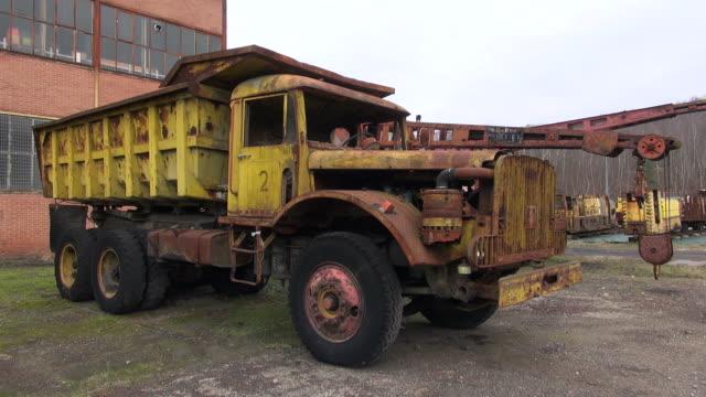 ms shot of oldest truck of musee les mineurs wendel / petite rosselle, lorraine, france - lorraine stock-videos und b-roll-filmmaterial