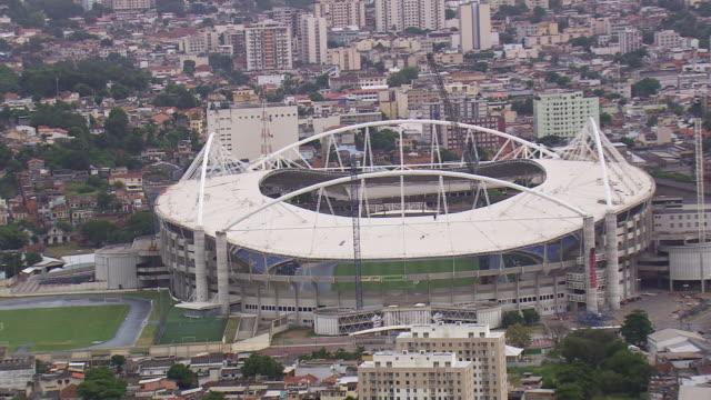 WS AERIAL Shot of Olympic stadium / Rio de Janeiro, Brazil