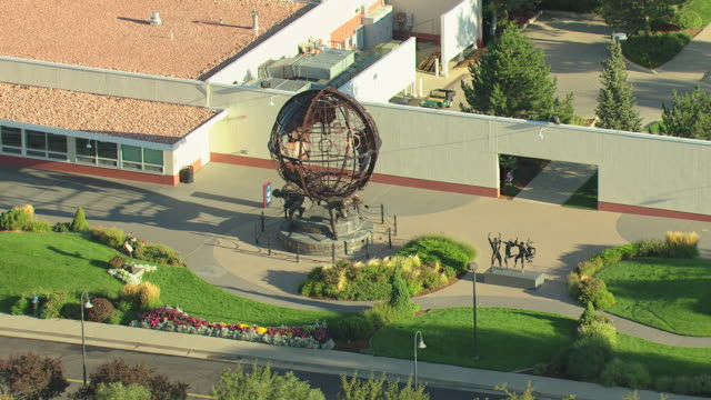MS DS ZO AERIAL Shot of olympic strength statue representing strength of mind and body and spirit at entrance of olympic training center / Colorado Springs, Colorado, United States