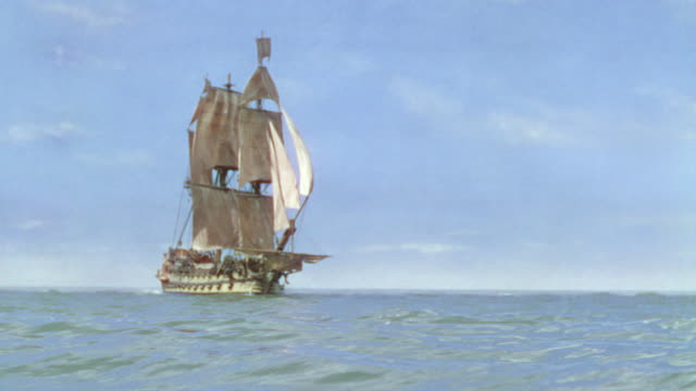 WS Shot of One clipper ship moving turn in ocean