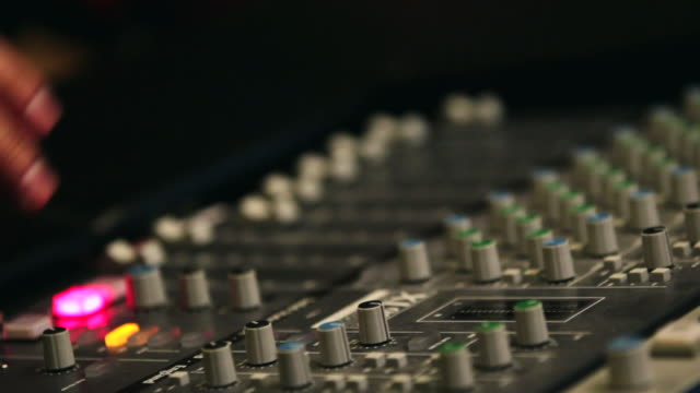 cu r/f shot of operating sound equipment / seoul, south korea - recording studio stock videos & royalty-free footage