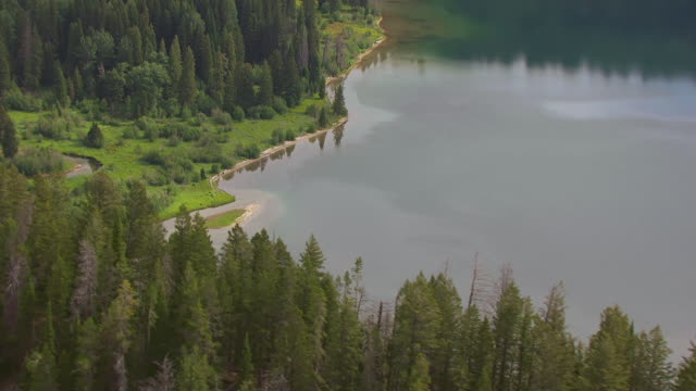 ms aerial shot of orbit around edge of phelps lake with trees and reflection of sky in water / wyoming, united states - parco nazionale del grand teton video stock e b–roll