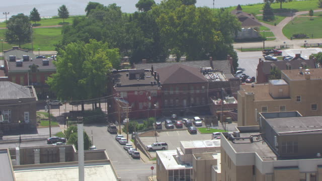 MS AERIAL TS Shot of orbit around First State Capitol building in Historic District / St Charles, Missouri, United States