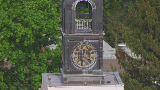 CU AERIAL TU TD DS Shot of orbit clock tower at National Churchill Museum at Westminster College / Fulton, Missouri, United States