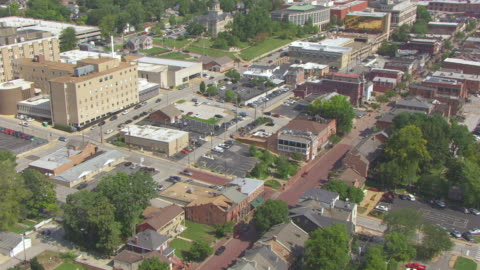 ms aerial ts shot of orbit historic district and first state capitol building on main street / st charles, missouri, united states - missouri stock videos & royalty-free footage