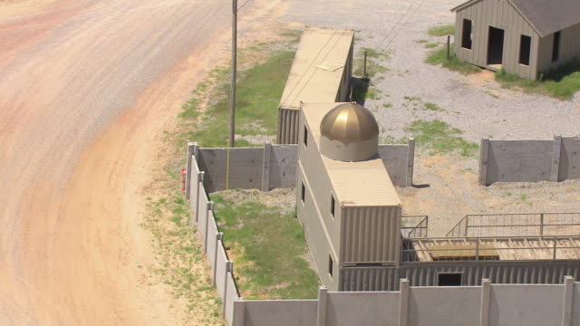 MS AERIAL ZO Shot of orbit mosque at practice village at Camp Shelby military post / Mississippi, United States