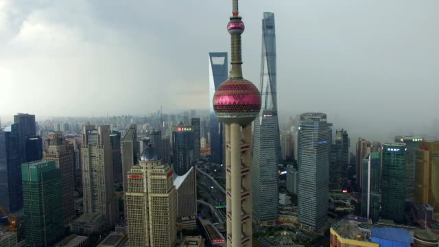 AERIAL shot of Oriental Pearl TV Tower and skyline/Shanghai,China