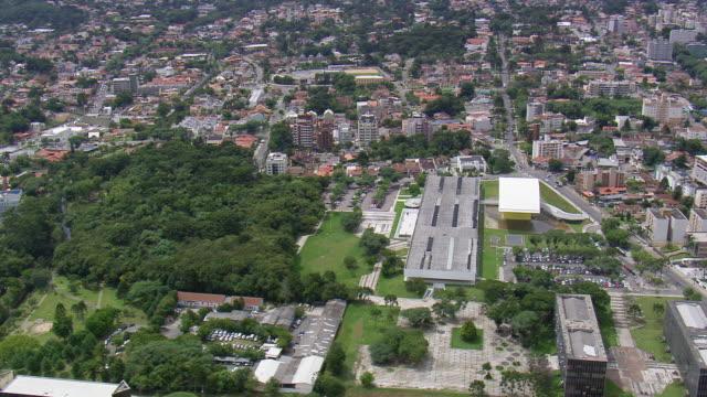 ms aerial shot of oscar niemeyer museum surrounding city / parana, brazil - oscar niemeyer stock videos and b-roll footage