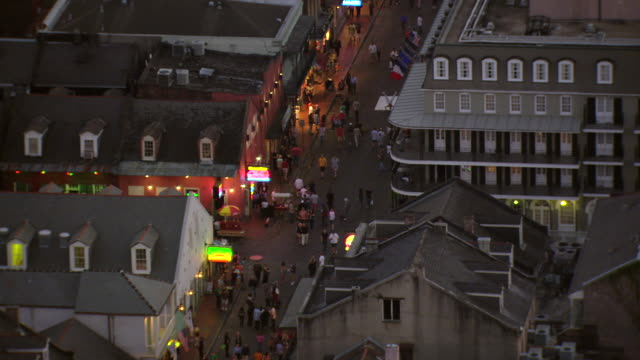 ms aerial shot of outdoor pedestrians on bourbon street / new orleans, louisiana, united states - bourbon street new orleans stock videos and b-roll footage