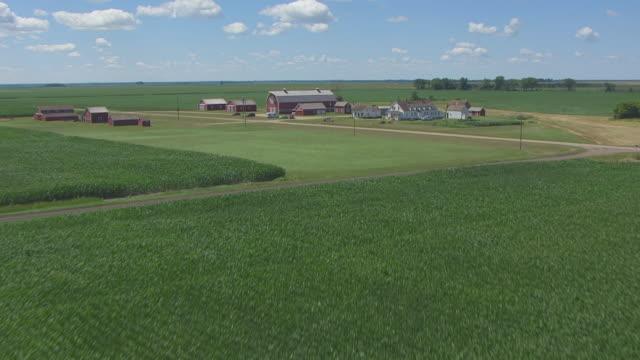 cu aerial la tu td shot of over crops to reveal bagg bonanza farm / mooreton, north dakota, united states - espansione verso l'ovest video stock e b–roll