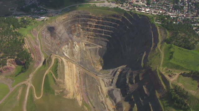 WS AERIAL TD Shot of over Homestake Gold Mine / Lead, South Dakota, United States