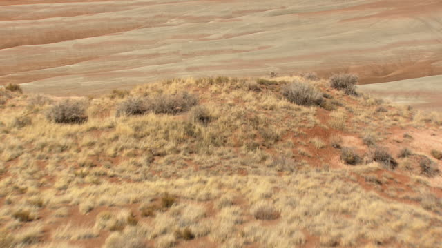 cu aerial shot of painted desert (blue mesa canyon) / arizona, united states - mesa stock videos and b-roll footage