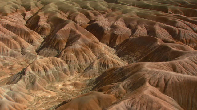MS AERIAL Shot of Painted Desert (Blue Mesa Canyon) / Arizona, United States